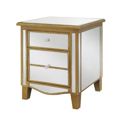 Romarin Mirrored End Table Color: Gold