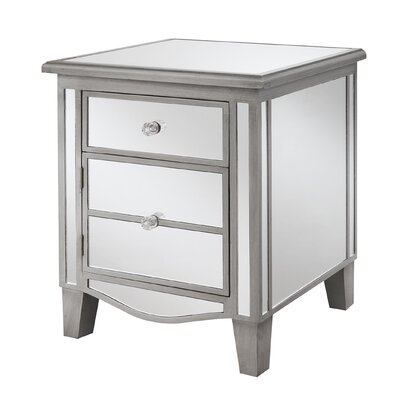 Romarin Mirrored End Table Finish: Silver