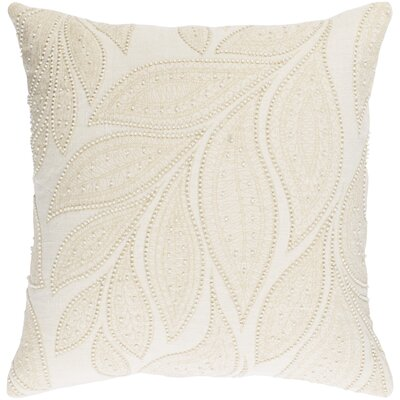Tessie Linen Throw Pillow Color: Cream/Butter, Size: 22 H x 22 W x 4 D, Fill Material: Down
