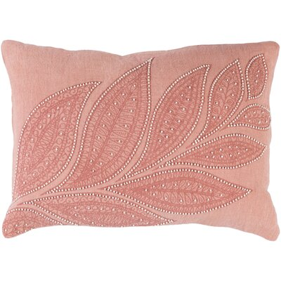 Tessie Linen Lumbar Pillow Color: Peach/Rose/Cream