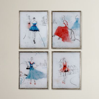 4 Piece Framed Painting Print Set HOHN3514 26995356
