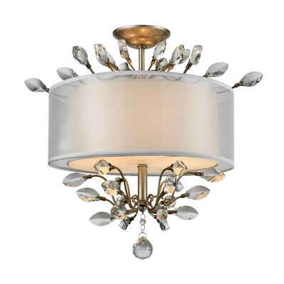 Turner 3-Light Semi Flush Mount Finish: Aged Silver, Bulb Type: 60W Incandescent