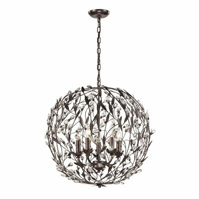 5-Light Globe Pendant Finish: Rust