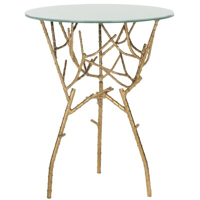 Martin End Table Color: Gold / White