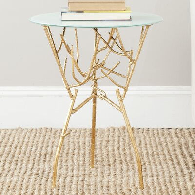 Martin End Table Finish: Gold / White