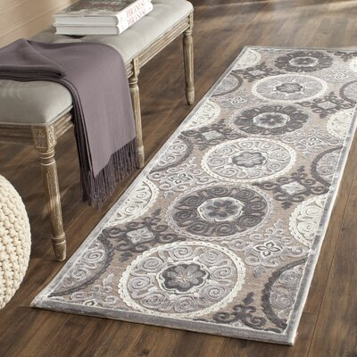 Light Gray/Dark Gray Area Rug Rug Size: Runner 23 x 7