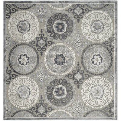 Light Gray/Dark Gray Area Rug Rug Size: Square 67