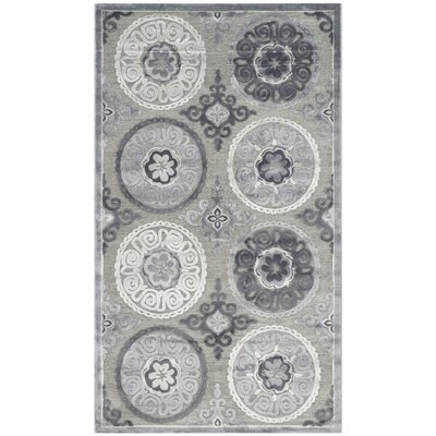 Light Gray/Dark Gray Area Rug Rug Size: 4 x 6