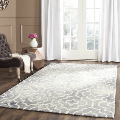 Berman Dip Dye Gray/Ivory Area Rug Rug Size: Square 7