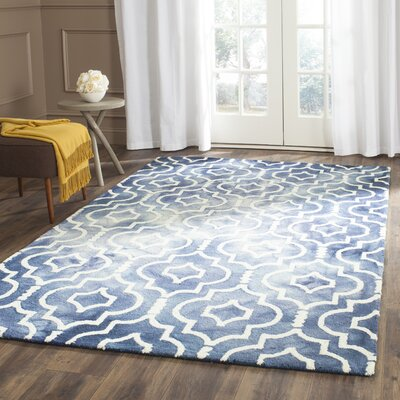 Berman Hand-Tufted Navy/Ivory Area Rug Rug Size: Rectangle 6 x 9