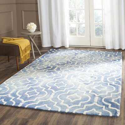 Berman Dip Dye Blue/Ivory Area Rug Rug Size: Rectangle 8' x 10'
