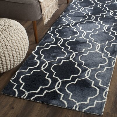 Hand-Tufted Graphite/Ivory Area Rug Rug Size: Runner 23 x 8