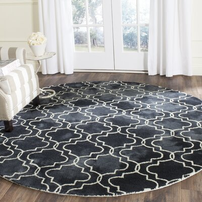 Hand-Tufted Graphite/Ivory Area Rug Rug Size: Round 7