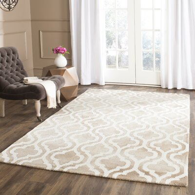 Blakeston Hand-Tufted Beige/Ivory Area Rug Rug Size: Rectangle 5 x 8
