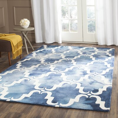 Hand-Tufted Navy/Ivory Area Rug Rug Size: Square 7