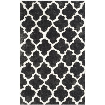 Hand-Tufted Graphite/Ivory Area Rug Rug Size: 5 x 8