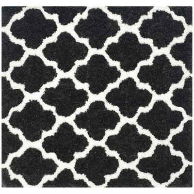 Hand-Tufted Graphite/Ivory Area Rug Rug Size: Square 5