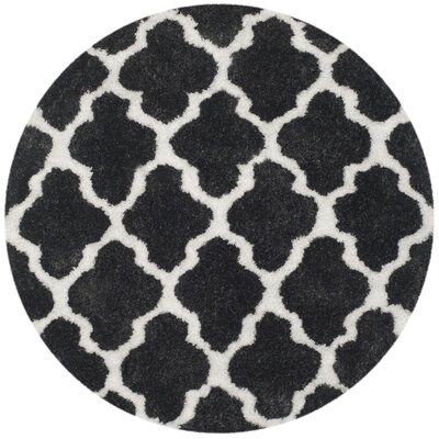 Hand-Tufted Graphite/Ivory Area Rug Rug Size: Round 5