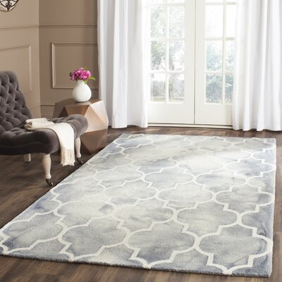 Hand-Tufted Gray/Ivory Area Rug Rug Size: Runner 23 x 6