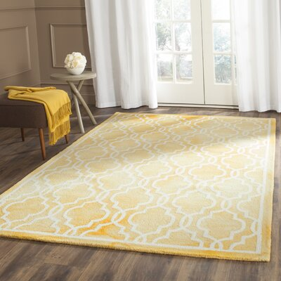 Hand-Tufted Wool Gold / Ivory Area Rug Rug Size: Square 7