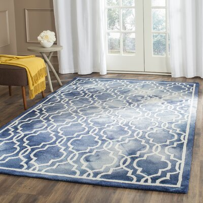 Aurellia Hand-Tufted Navy/Ivory Area Rug Rug Size: Rectangle 26 x 4