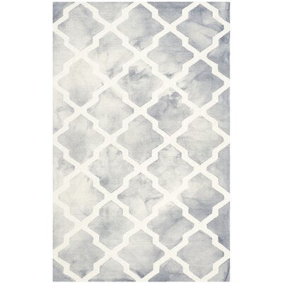 Hand-Tufted Grey/Ivory Area Rug Rug Size: 9 x 12