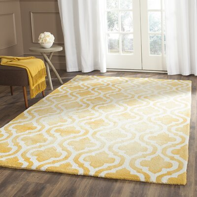 Merseles Hand-Tufted Gold/Ivory Area Rug Rug Size: Rectangle 9 x 12