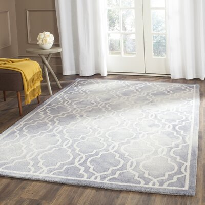 Hand-Tufted Gray/Ivory Area Rug Rug Size: Square 5