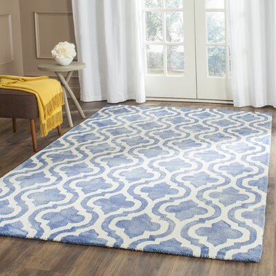 One-of-a-Kind Hand-Tufted Wool Blue/Ivory Area Rug Rug Size: Rectangle 9 x 12