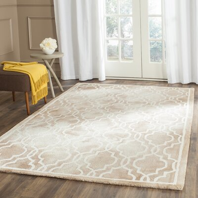 Hand-Tufted Beige/Ivory Area Rug Rug Size: Rectangle 26 x 4