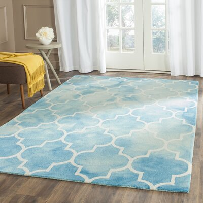 Hand-Tufted Turquoise/Ivory Area Rug Rug Size: Rectangle 26 x 4