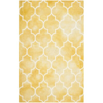 Hand-Tufted Gold/Ivory Area Rug Rug Size: Rectangle 26 x 4