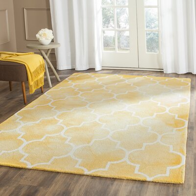 One-of-a-Kind Hand-Tufted Wool Yellow/White Area Rug Rug Size: Square 7