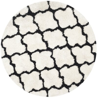 Eno Hand-Tufted Black/Ivory Area Rug Rug Size: Round 5