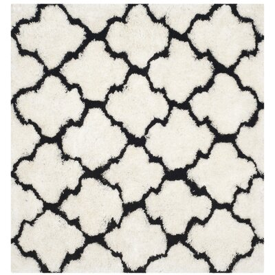 Eno Hand-Tufted Black/Ivory Area Rug Rug Size: Square 5