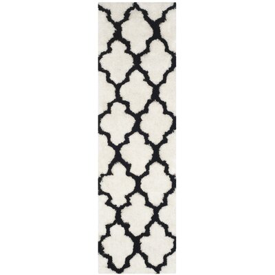 Hand-Tufted Black/Ivory Area Rug Rug Size: Runner 23 x 8