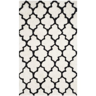 Eno Hand-Tufted Black/Ivory Area Rug Rug Size: 5 x 8