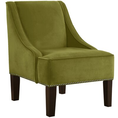 Velvet Nail Button Swoop Arm Chair Color: Applegreen