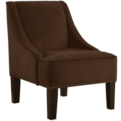 Velvet Nail Button Swoop Arm Chair Color: Chocolate