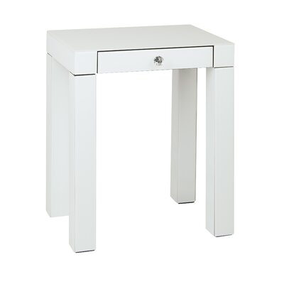 Allen End Table Color: White Glass