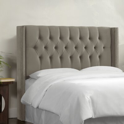 Aura Diamond Tufted Upholstered Wingback Headboard Upholstery: Mystere Gladiator Grey, Size: Queen