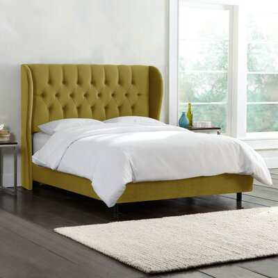 Upholstered Panel Bed Upholstery: Mystere Macaw, Size: California King