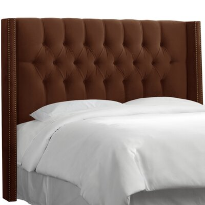 Drury Traditional Diamond Tufted Upholstered Wingback Headboard Size: Full, Upholstery: Regal Chocolate