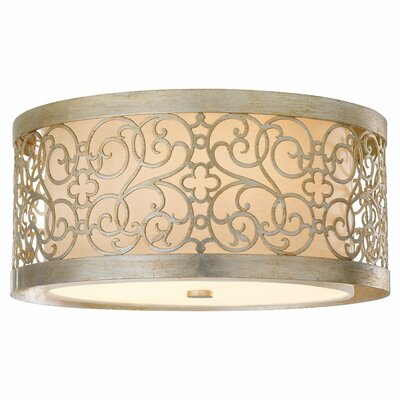 Barrigan 2-Light Flush Mount in Silver Leaf Patina Bu Type: Arabesque 2 Light INDOOR Flush Mount