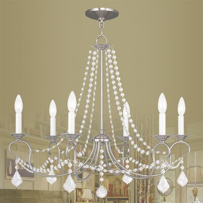 Devana 6-Light Crystal Chandelier Finish: Brushed Nickel