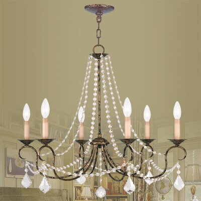 Devana 6-Light Crystal Chandelier Finish: Venetian Golden Bronze