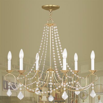 Devana 6-Light Crystal Chandelier Finish: Polished Brass