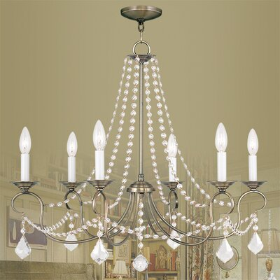 Devana 6-Light Crystal Chandelier Finish: Antique Brass