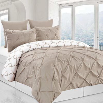 Inni 3 Piece Reversible Duvet Cover Set Color: Taupe, Size: King