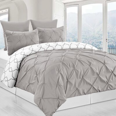 Inni 3 Piece Reversible Duvet Cover Set Color: Gray, Size: King